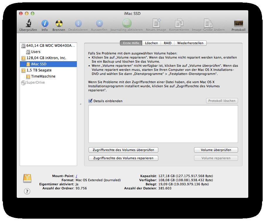 Festplattedienstprogramm mit SSD, interner HDD und Firewire HDD
