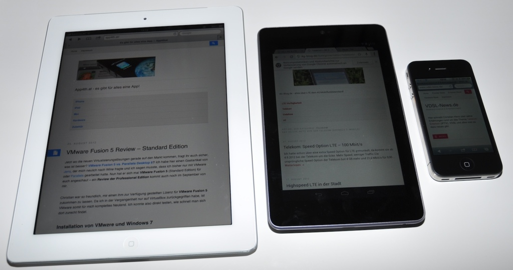 iPad 2, Nexus 7, iPhone 4