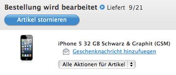 Lieferung am 21.9. von Apple iPhone 5