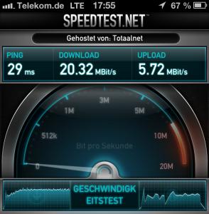 iPhone 5 - Speedtest im Telekom LTE Netz