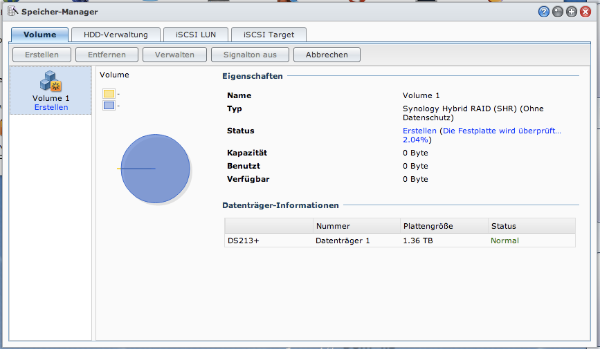 Synology Volumenerstellung