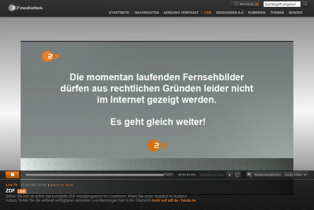 ZDF Livestream mit Unterbrechung